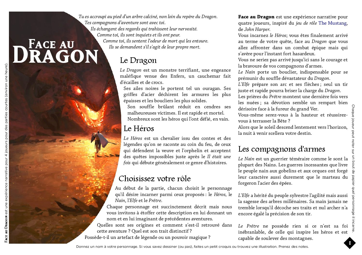 Jeu de rôle court : Face au dragon par JeePee