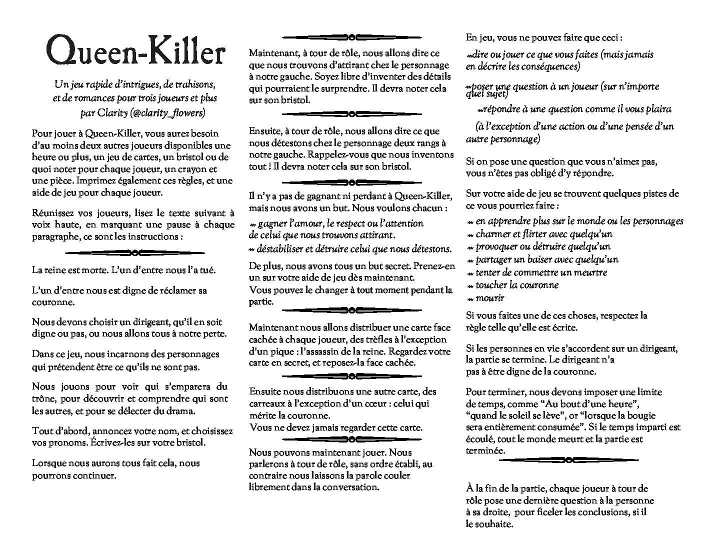 Jeu de rôle court : Queen Killer par Matthieu B