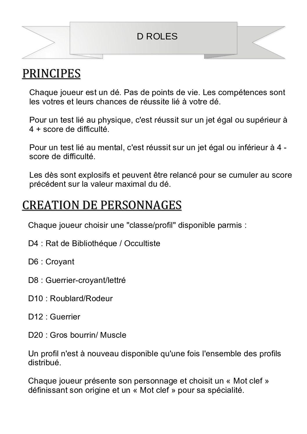 Jeu de rôle court : D-roles par Gilles Becq