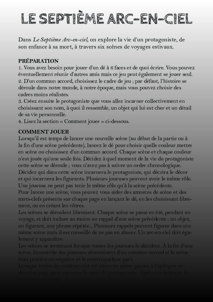 Jeu de rôle court : Le Septième Arc-en-ciel par Côme Martin