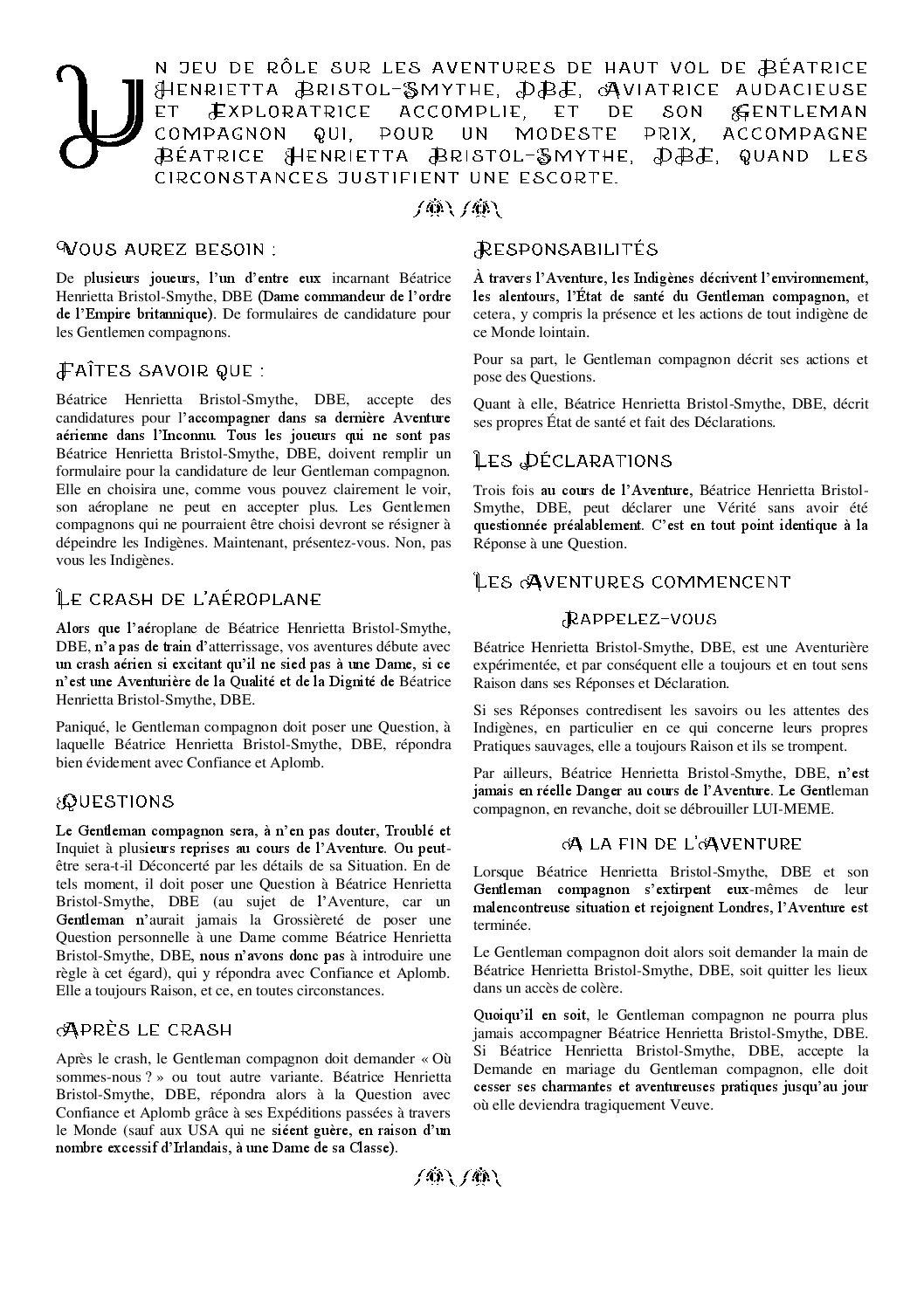 Les Aventures de haut vol de Béatrice Henrietta Bristol-Smythe, DBE